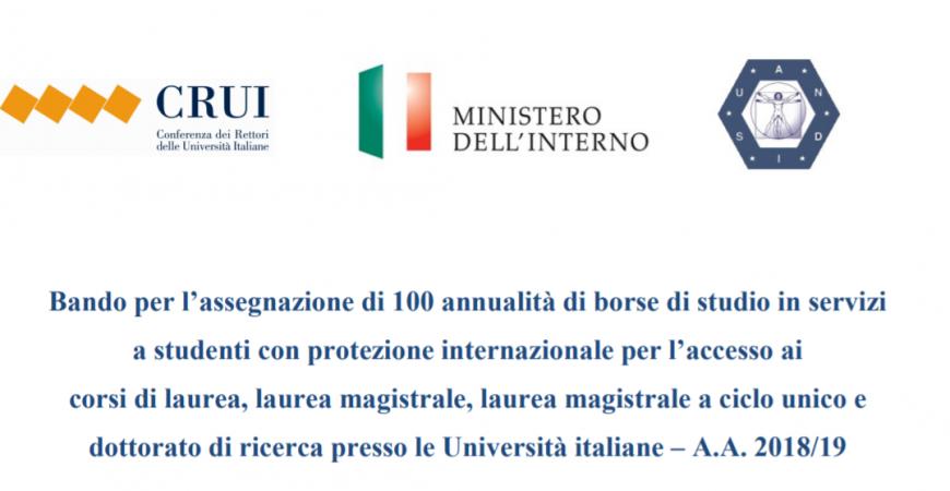 Bando per 100 annualità di borse di studio a studenti con protezione internazionale