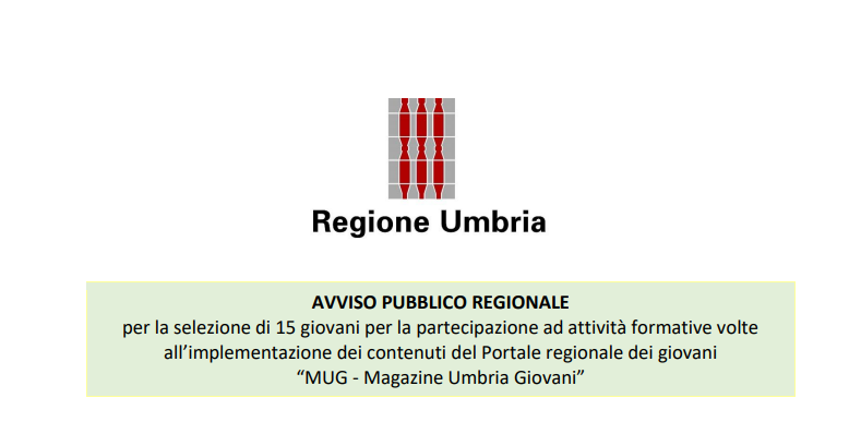 """Selezioni per il portale regionale dei giovani """"MUG – Magazine Umbria Giovani"""""""