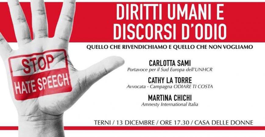 Discutiamo di diritti umani e hate speech a Terni