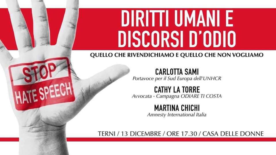 diritti umani e discorsi d'odio terni 10 dicembre