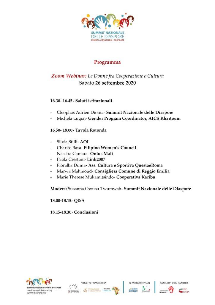Programma-webinar summit nazionale diaspore 26-settembre
