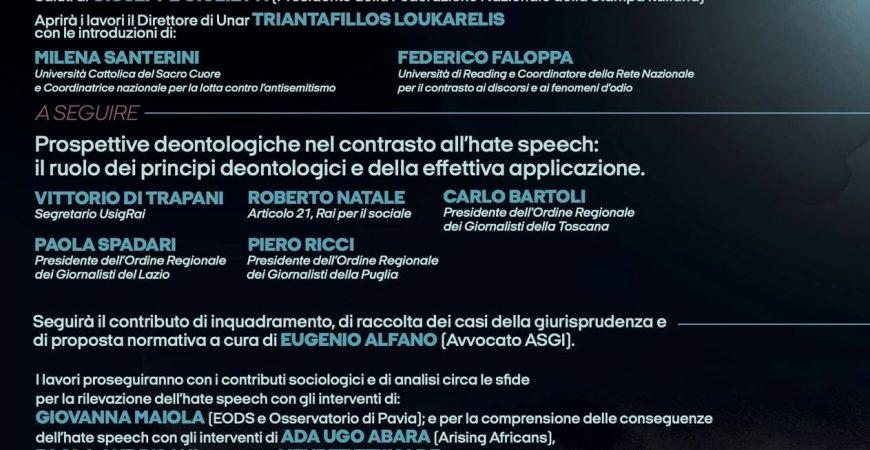 panel hate speech 25 giugno 2021 carta di roma UNAR sabir